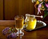 Fotografie Still life from medicinal herbs, honey, herbal tea