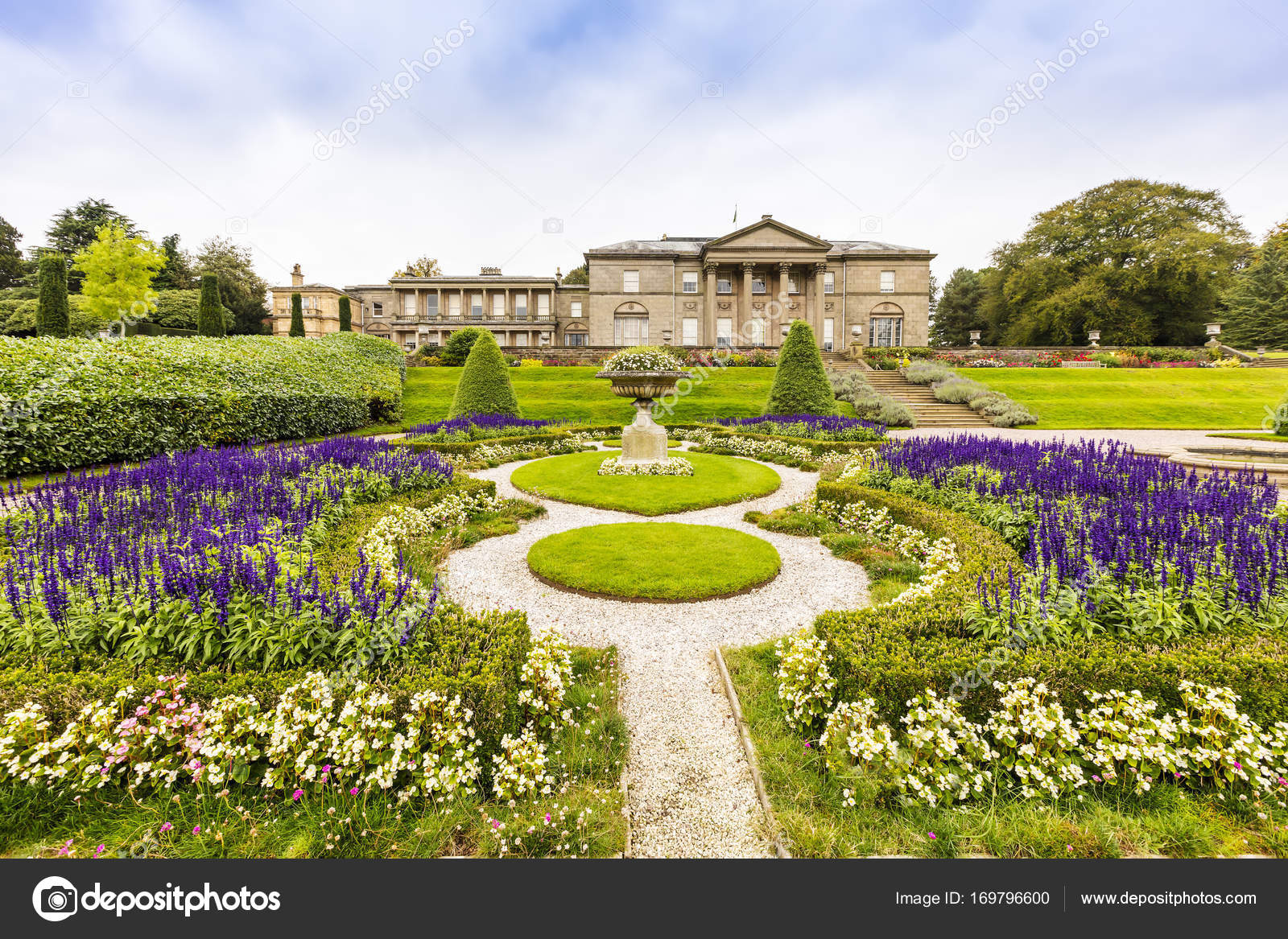 Landscaped Gardens And A Historic Mansion In England. U2014 Stock Photo