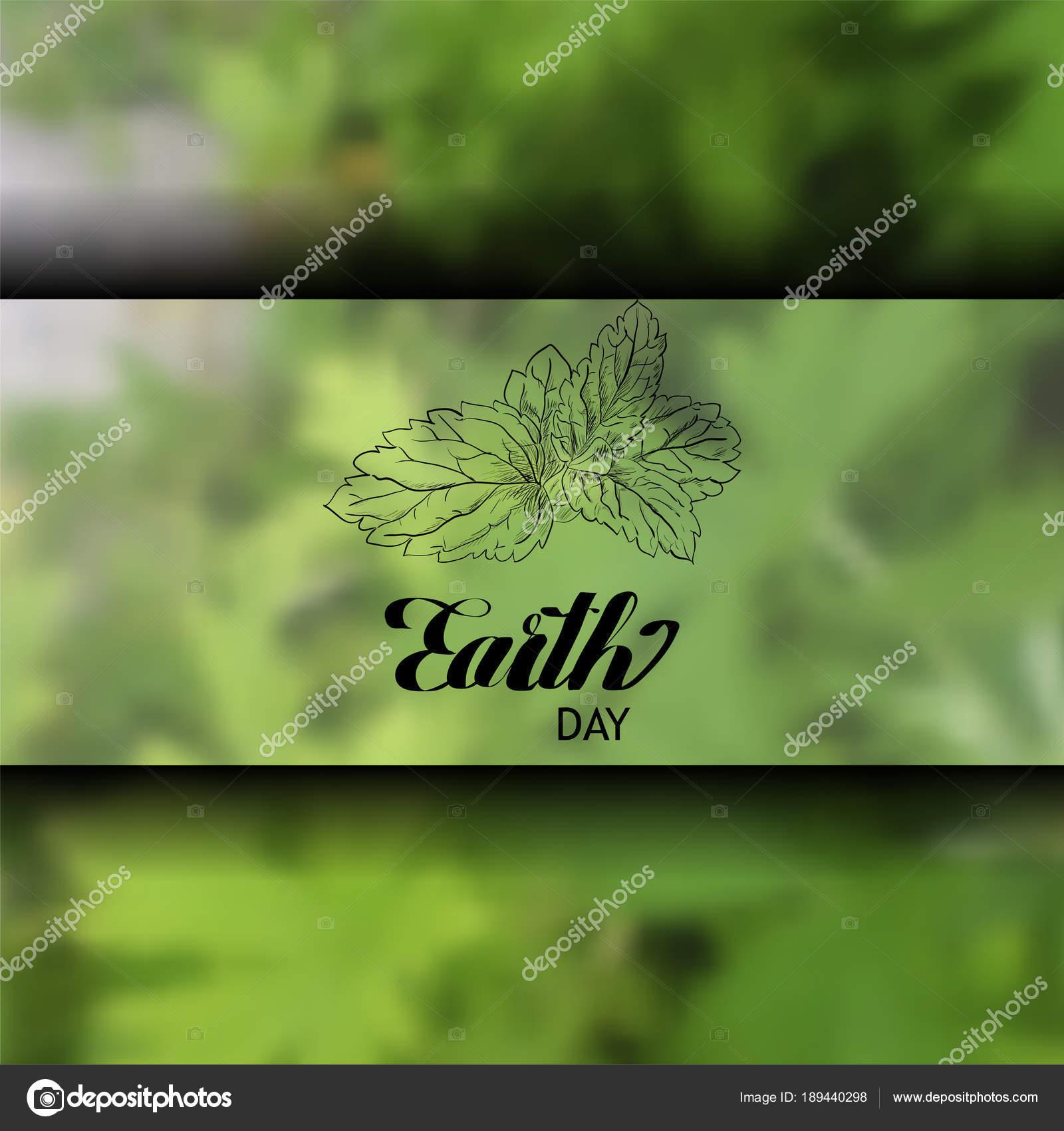 Letras sobre un fondo verde en la tierra día escritura cursiva. Hoja ...