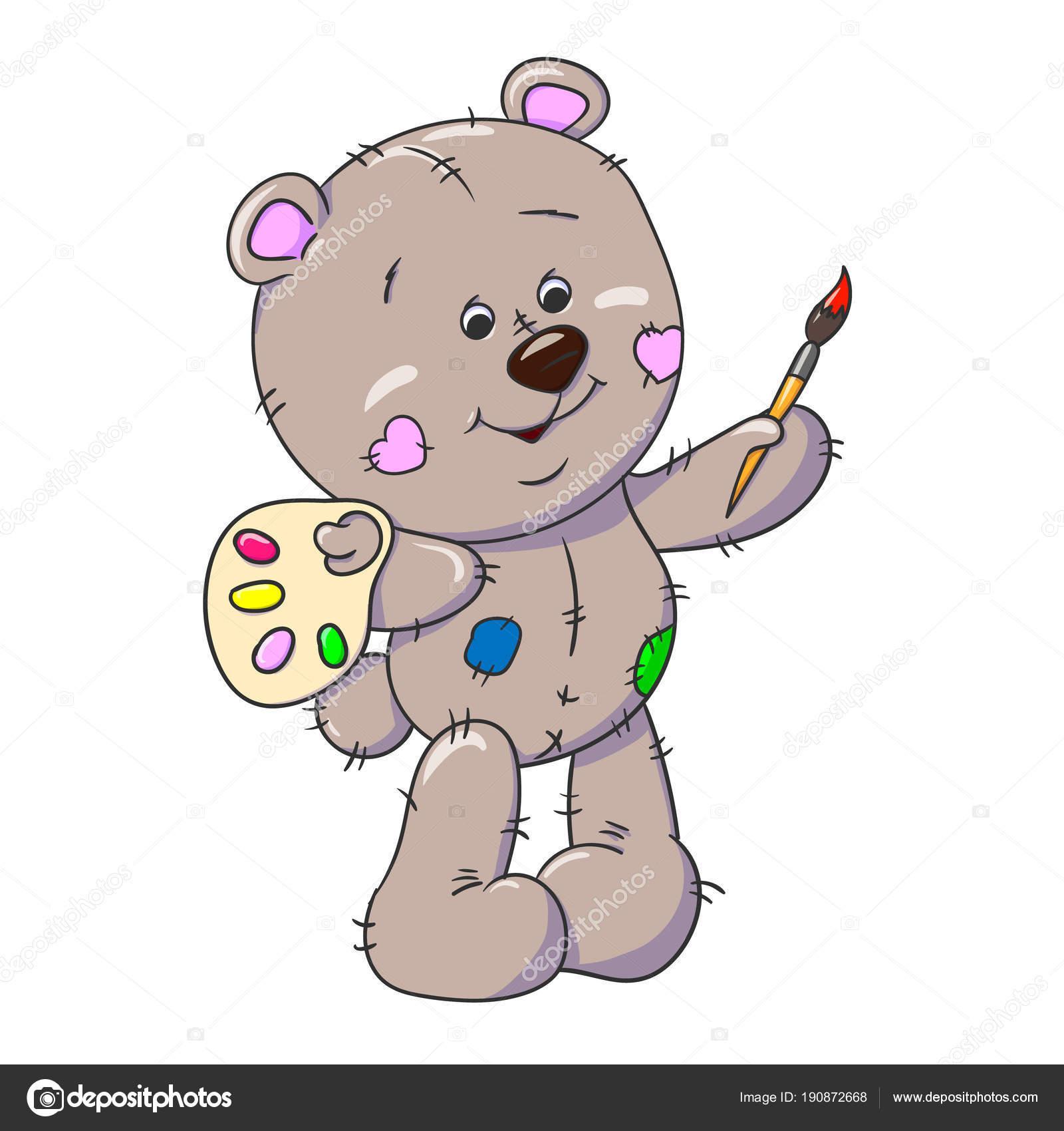 Teddybär Mit Einem Pinsel Postkarte Färbung Farbe Farben Kinder ...