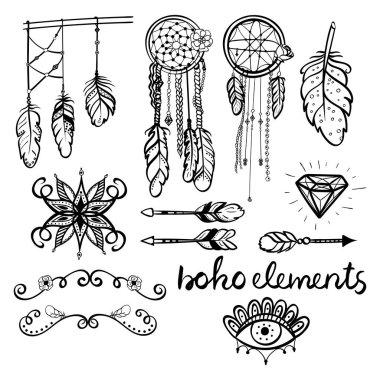 Set of boho style hand drawn elements.