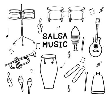 Set of hand drawn salsa musical instruments.