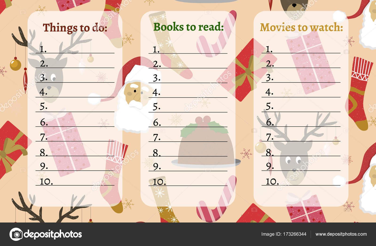 Weihnachten mit nahtlosen Urlaub Muster Aufgabenliste — Stockfoto ...