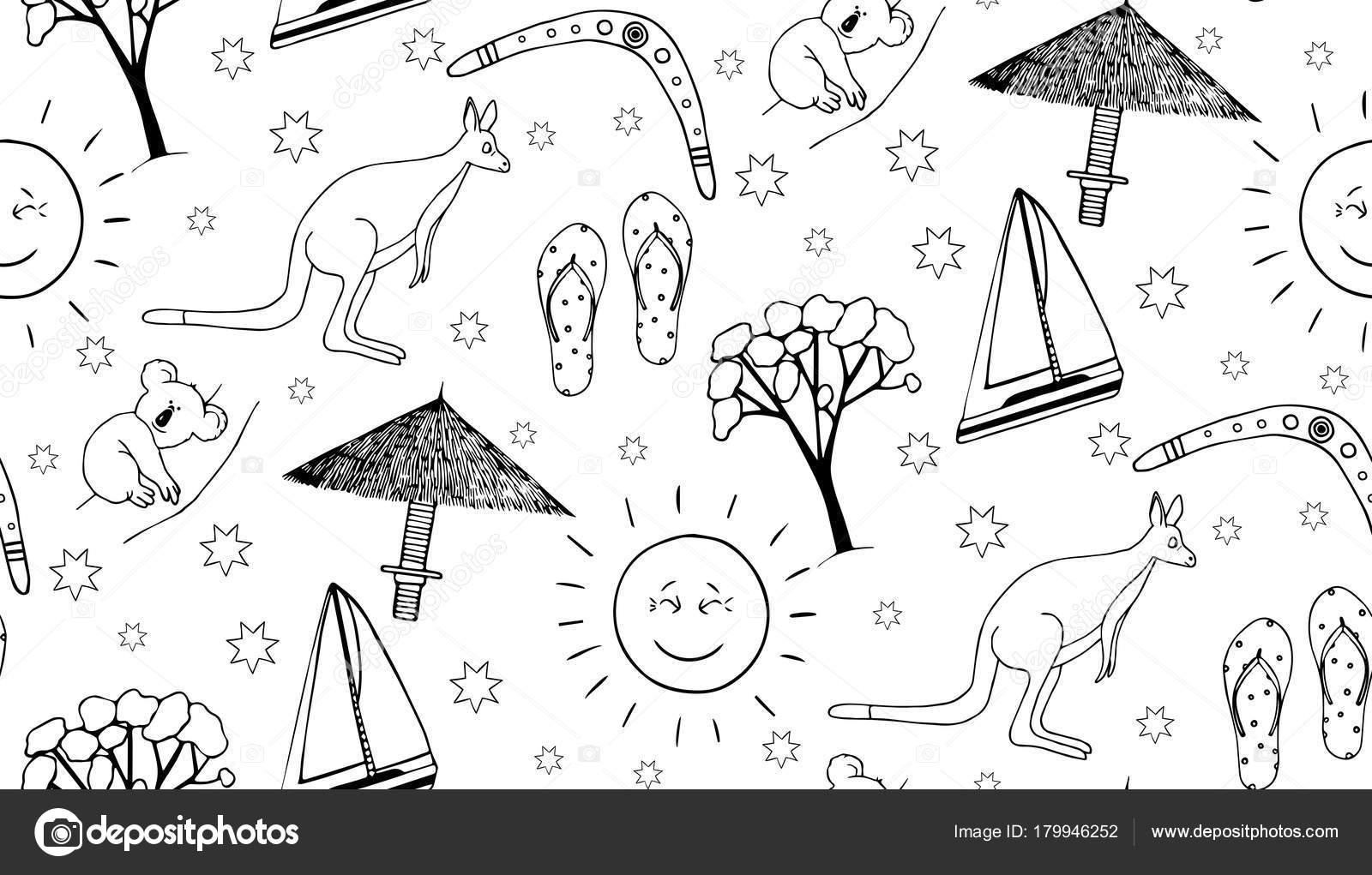 Outlne de patrones sin fisuras con símbolos de Australia — Vector de ...