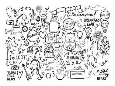 Set of handmade doodles with motivaton lettering.