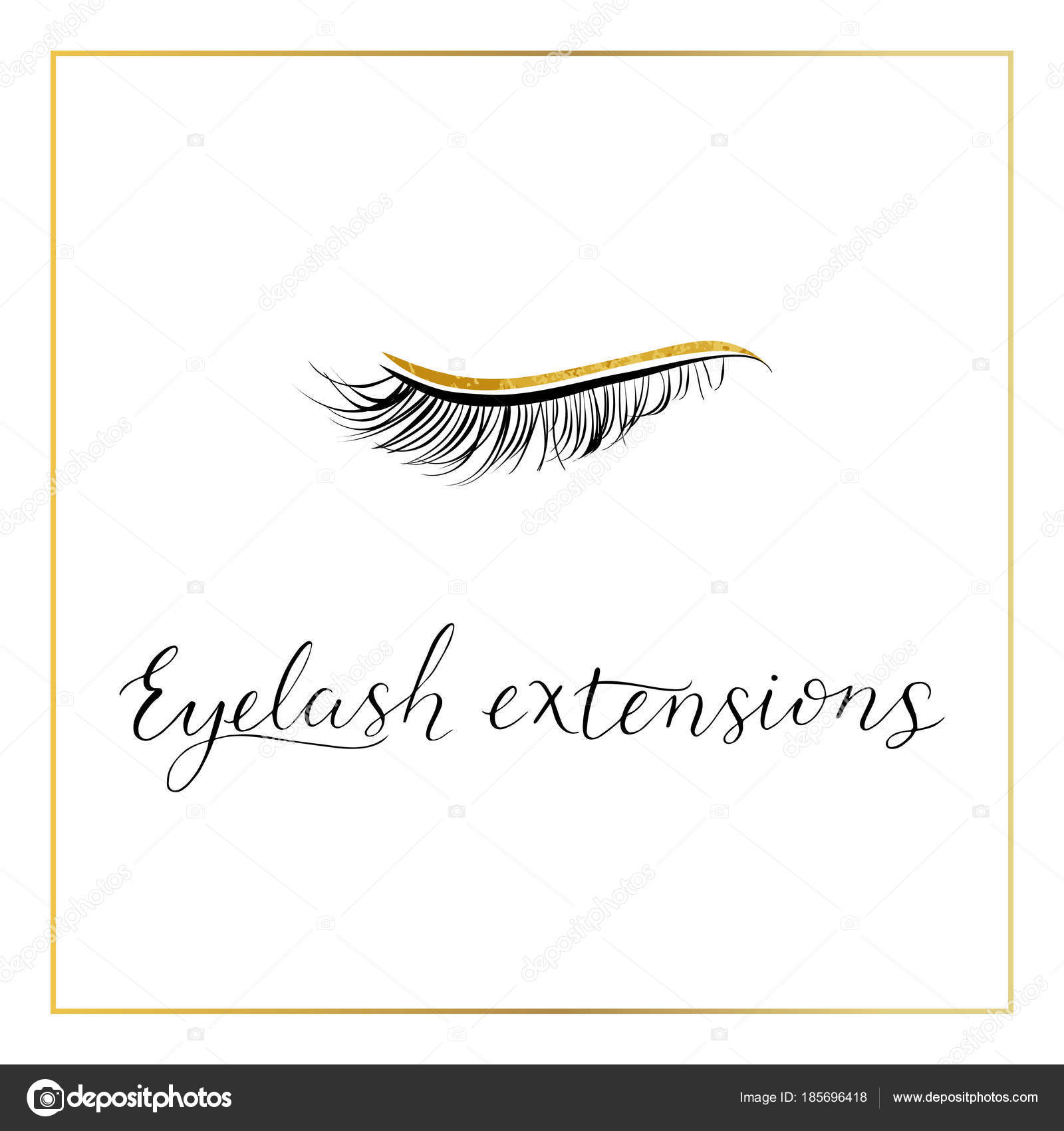 Eyelash extensions logo with modern lettering  — Stock Vector