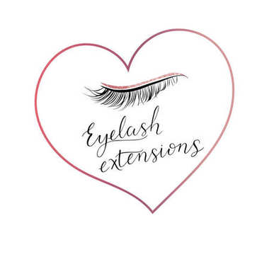 Eyelash extensions logo with eyes and modern calligraphy.