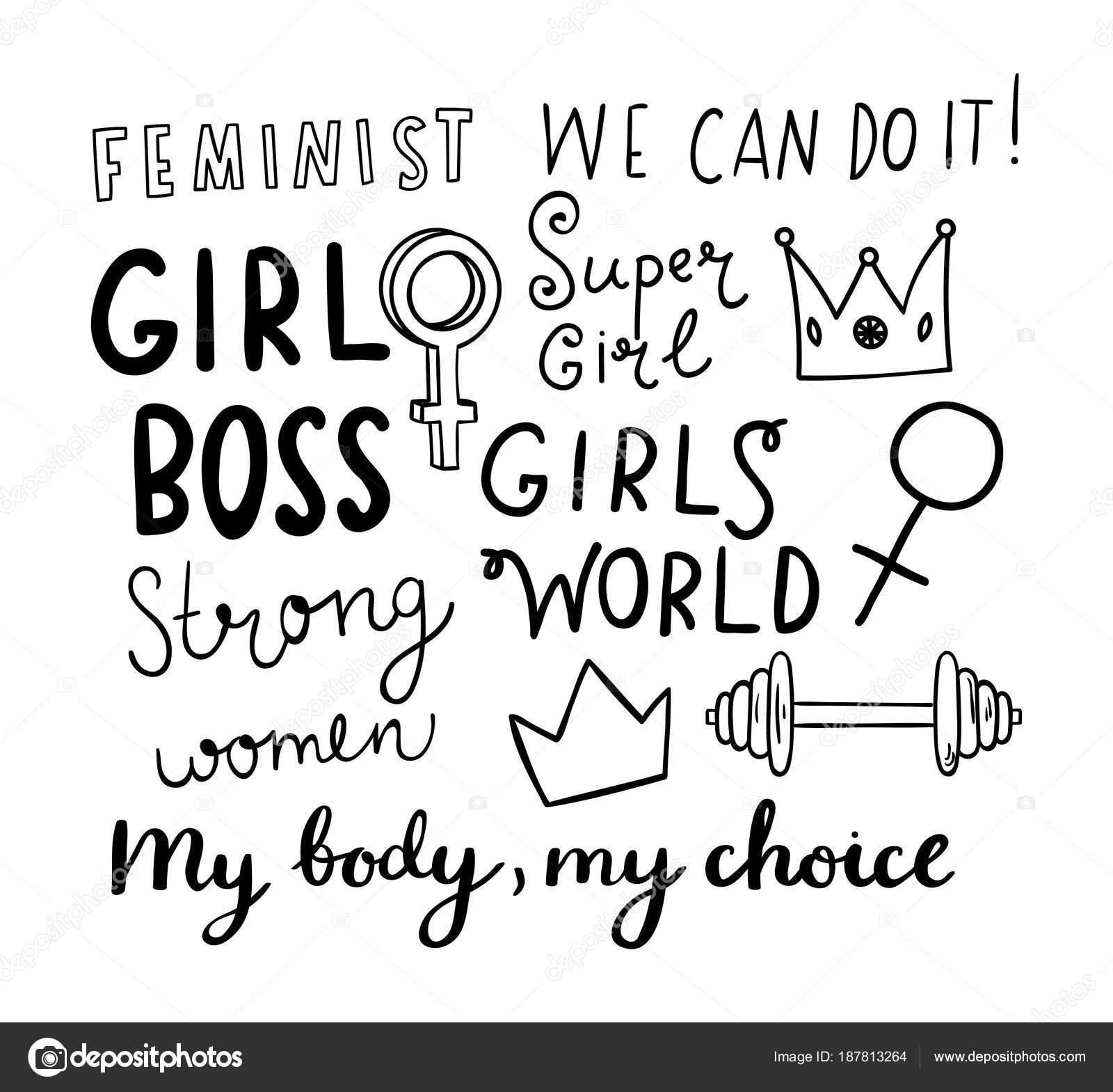 Feministicka Rucne Kreslene Prvky S Nacrtnutymi Citaty Stock