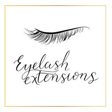 Eyelash extensions logo with modern lettering.