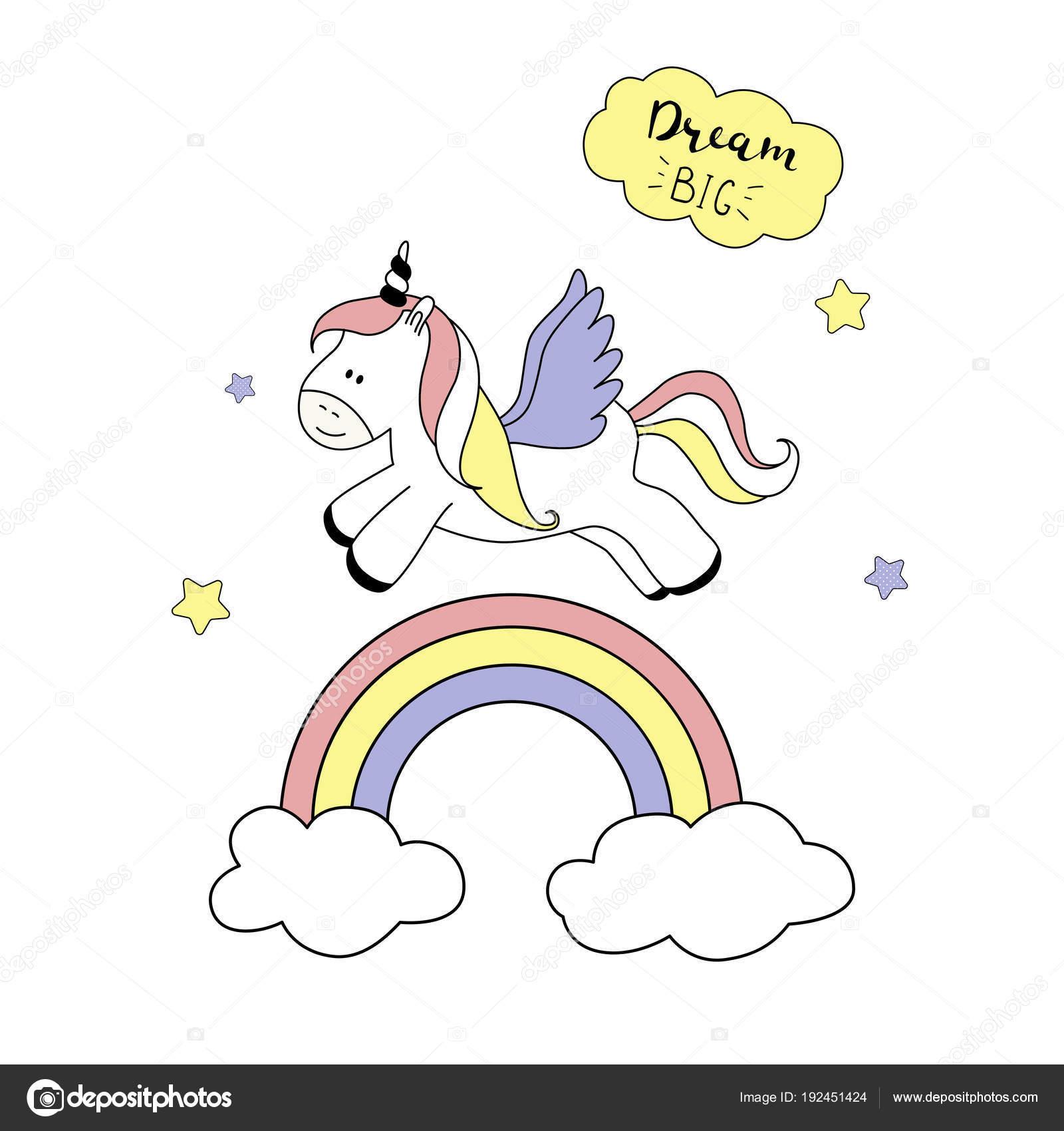 Imágenes Arcoiris Grandes Para Colorear Lindo Unicornio Con Arco