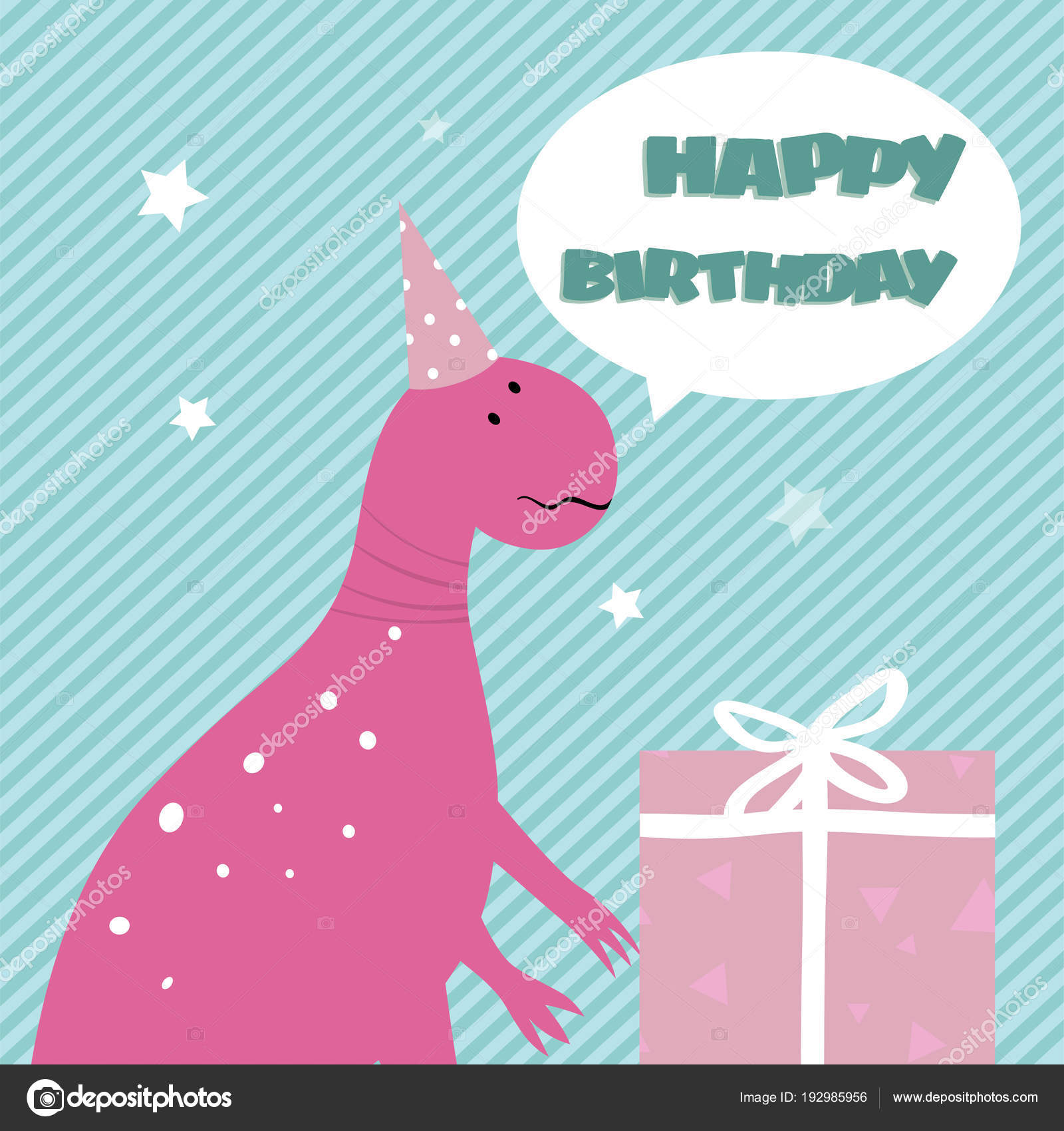 Birthday Card With Funny Cartoon Pink Dinosaur And Gift Box Isol Stock Illustration