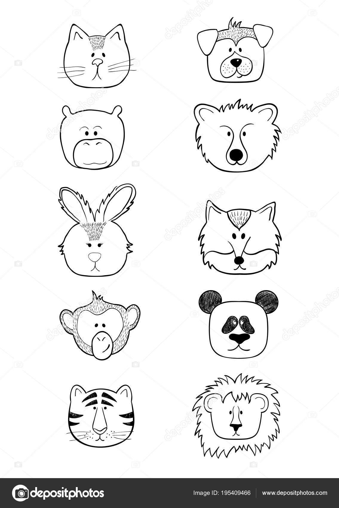 集かわいい手描き動物面白 ba に分離 — ストックベクター © zolushka88