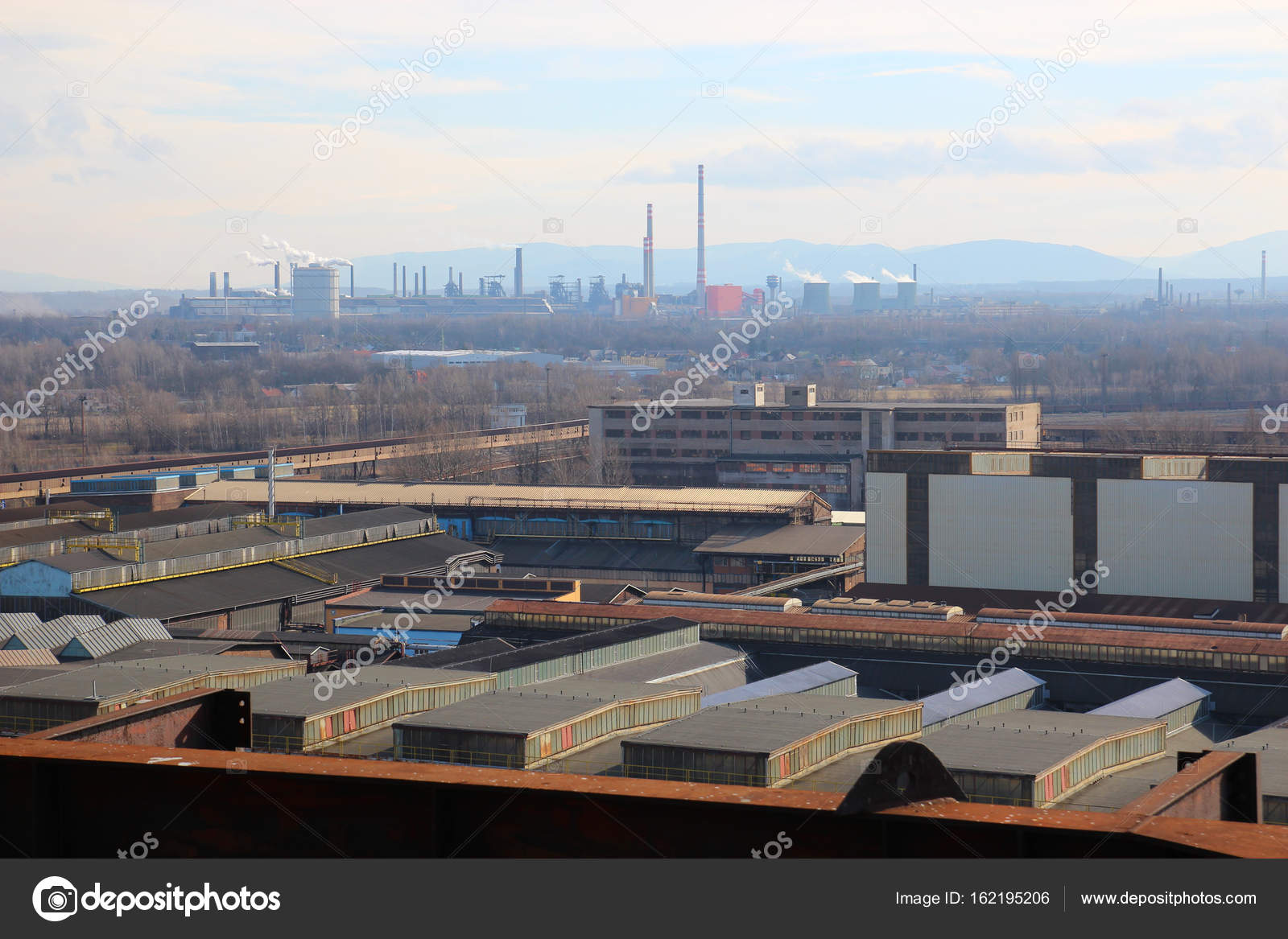 Industrial Landscape Factories And Warehouses Stock Photo