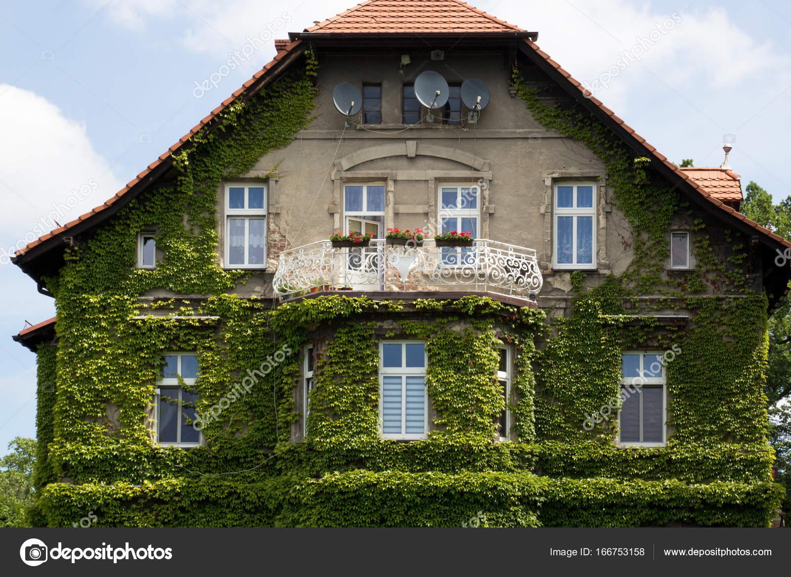 fa ade de maison avec balcon sont recouverts de lierre vert photographie bogdankhmel 166753158. Black Bedroom Furniture Sets. Home Design Ideas