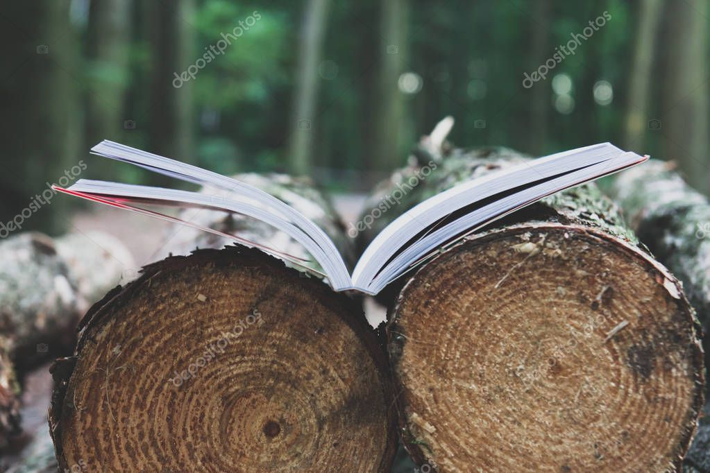 An open book lies on felled trees save trees - read ebooks conce