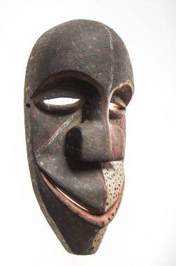 African wooden mask of angola, bakama, isolated on white backgro
