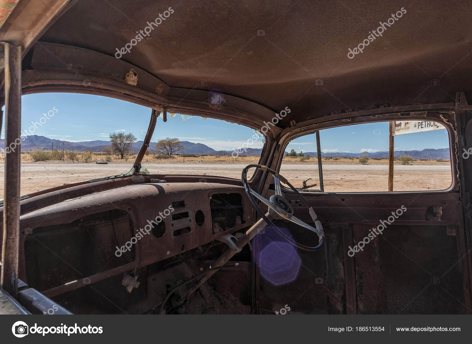 Abandoned Old Car Interior In Namibia Desert Place Known As