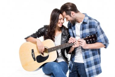 Young couple with guitar