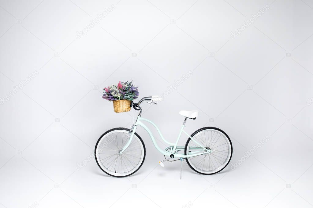 Hipster bicycle with flower basket