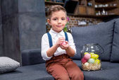 Little boy with Easter eggs