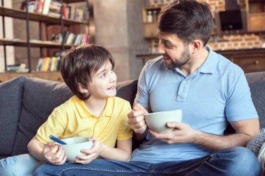 Family having breakfast