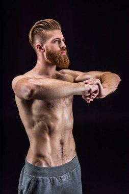 handsome sportsman gesturing