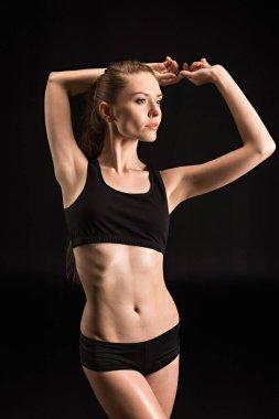 sportswoman in black underwear