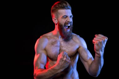 handsome bodybuilder yelling