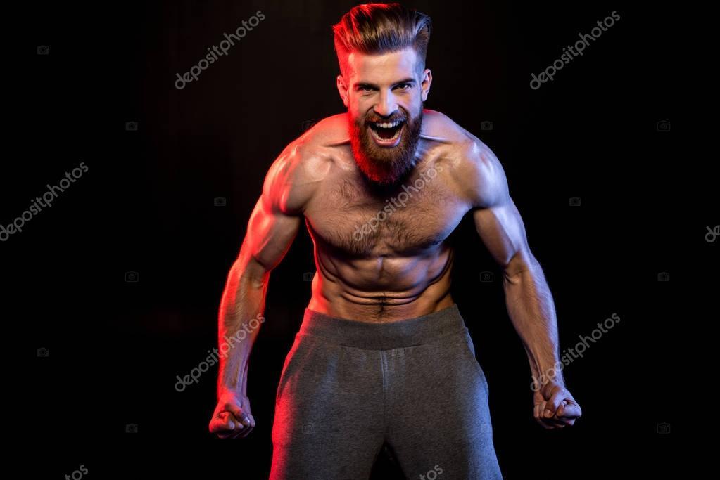 handsome bodybuilder yelling