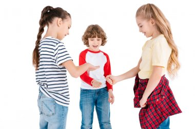 Children playing in rock-paper-scissors game isolated on white stock vector