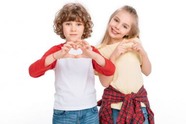 Kids gesturing hearts by hands