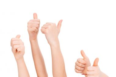 Kids gesturing thumbs up isolated on white stock vector