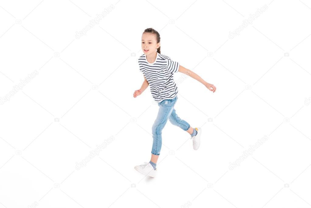 Girl running in studio