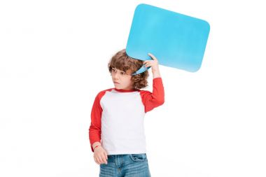Child holding speech bubble