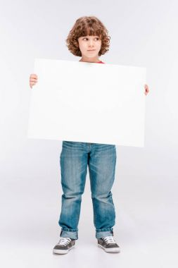 Smiling curly boy with white blank board in hands isolated on white stock vector
