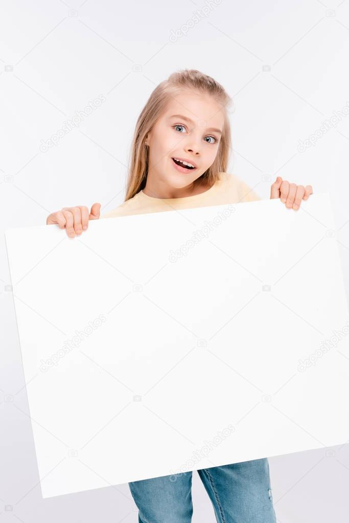 Blond girl with blank board