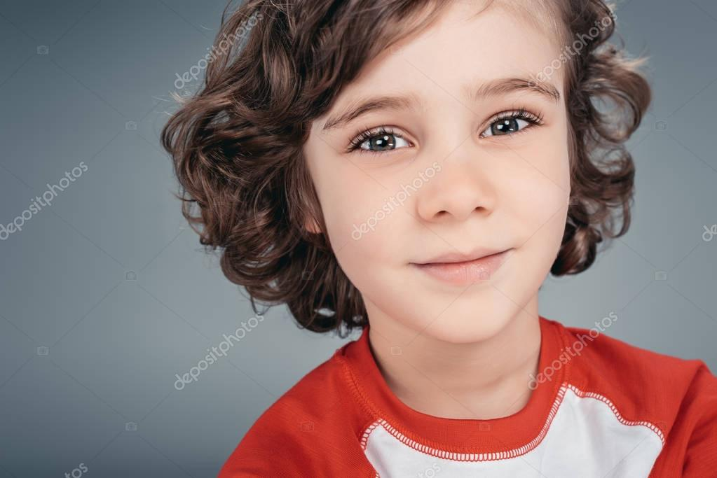 Curly little boy at studio