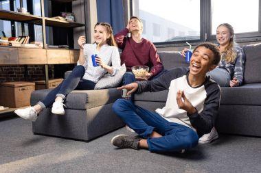 Teenagers watching movie