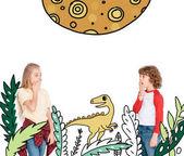 Fotografie chlapec a dívka bál dinosaurů