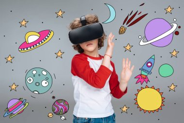 Boy wearing virtual reality headset, dreaming about space traveling stock vector