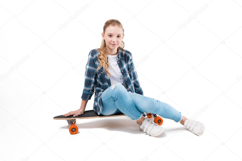happy girl with skateboard
