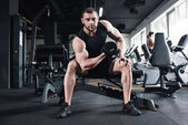 Photo sportsman doing biceps workout with dumbbell