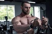 shirtless kulturista trénink v tělocvičně