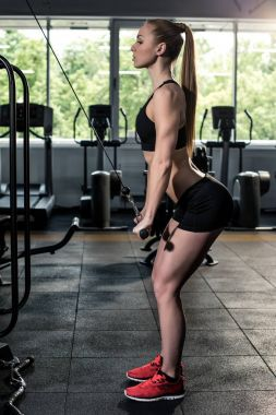 sportive woman exercising at gym