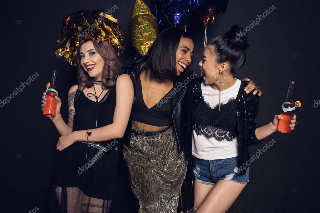 Young women enjoying party