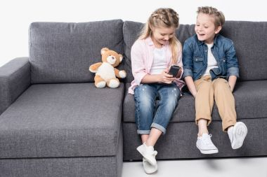 happy kids watching tv