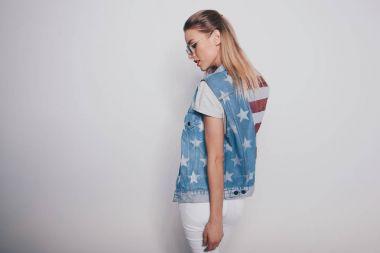 girl in american patriotic outfit