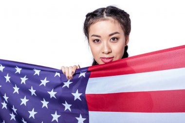 Girl with american flag