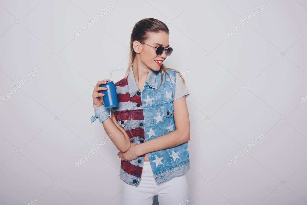 hipster girl with soda can