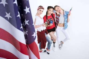 young women with american flag